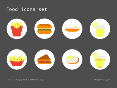 Food Icons set - 1 object, 2 angles