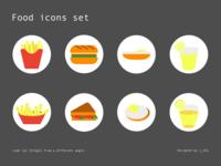 Food Icons set - 1 object, 2 angles