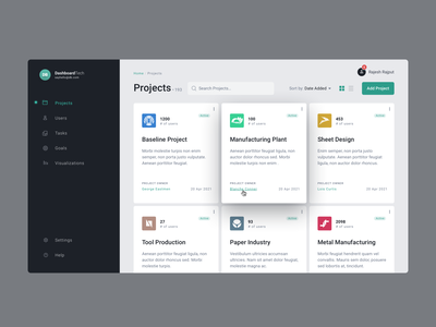 Dashboard – Projects Screen application ux dailyui uiux dashboard app dashboard design dashboard ui