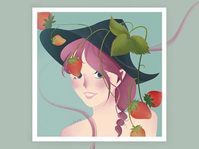 strawberry fruit girl paintig strawberry fruit girl drawing illustration design