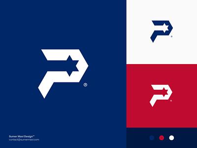 P + Star p logo design logo design branding logomark logo classic modern minimal american star star logo p logo p
