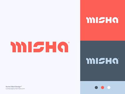 Misha m logo logo design minimal logomark logo futuristic wordmark modern logo futuristic logo cyberpunk logotype wordmark