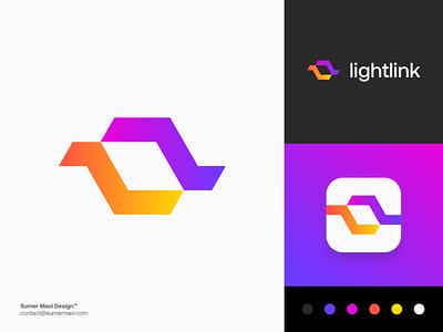 Lightlink modern brand identity branding logo design minimal logomark logo abstract mark abstract logo abstract l light logo light ll logo l logo