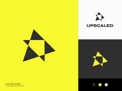 Upscaled brand identity branding logo design minimal logomark logo production media play button play up logo up logo with arrow arrow logo arrow