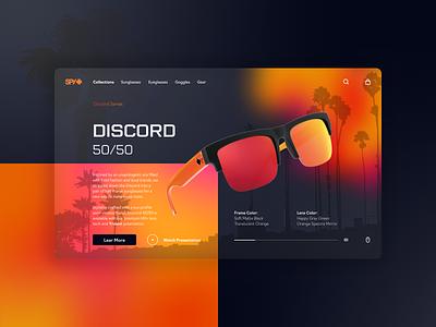 Spy Optic discord mirror minimal orange design ui ux web website blur shop goggle sunglasses