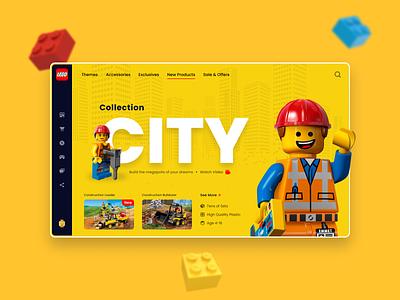 LEGO Landing Page Design creator constructor city bricks yellow minifigures landing hipool lego branding website web minimal blur ux ui design