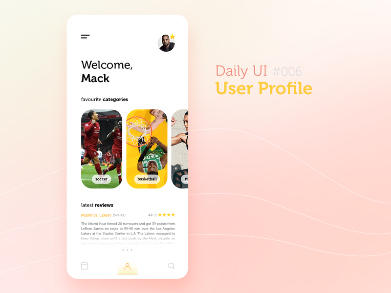 User Profile Concept sports design avatar sport minimalistic minimalist minimalism iphone app iphone app profile user user profile 006 dailyuichallenge dailyui