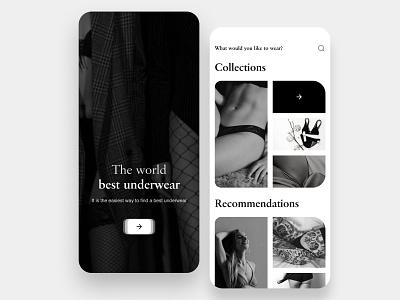 Underwear shop underwear fashion black  white e-comerce shop homepage clean branding minimal flat color application app ux ui design
