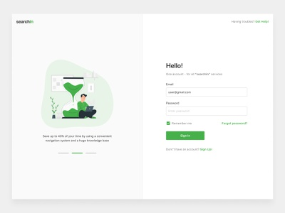 Sing In | CRM App welcome sign in website illustraion green crm form homepage clean minimal flat color application app ux ui design