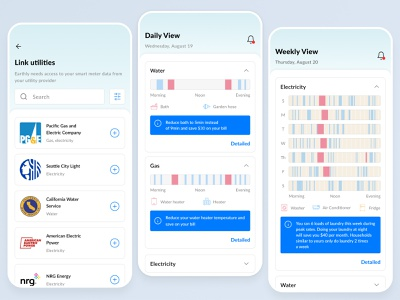 Earthly mobile app mobile product interface branding figma concept list chart ios blue minimal homepage flat clean color application app ux ui design