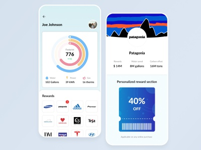 Earthly mobile app product mobile coupon ticket ios interface figma minimal homepage design ui ux clean flat circle chart branding blue application app