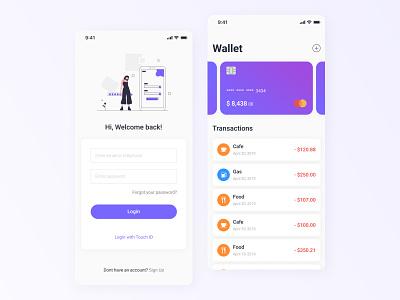 Mobile wallet app product design bank app finance figma clean card mobile app payment bank wallet typography illustration ux ui minimal flat design color application app