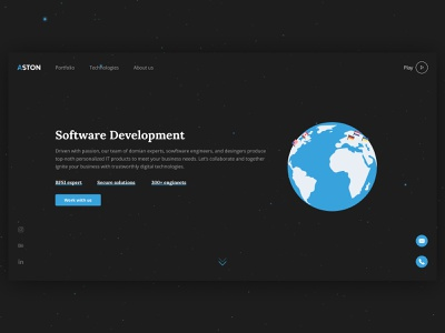 Aston homepage blue company digital earth space dark web website illustraion clean landing homepage branding ux ui typography minimal flat design color