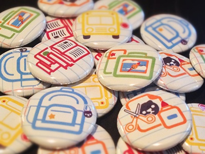 Back to School backpack bus books lunchbox crafts 1-inch buttons