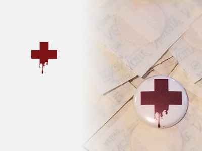 Red cross blood 1-inch buttons