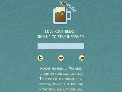 i<3root Sign-up blue brown root beer sign-up love
