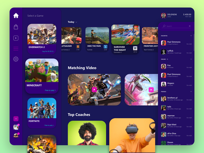 game service dashboard fortnite coaches person streaming teamfortress overwatch interface pc steam game design cyber game design ui icon web app ux