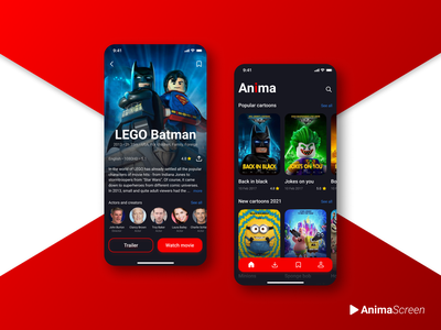 Cartoons and TV movie app motion films screen lego batman animation design app movie ux mobile uiux ui interface app design