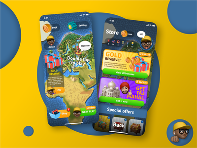 Game User Interface dribbble blue yellow 2021 moscow game map store design home screen game game design ux uiux ui interface app design