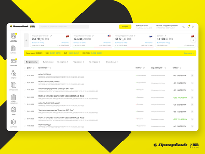 Banking interface for business banking minsk belarus web product austria yellow card business desktop priorbank bank raiffeisen 2021 dribbble ux uiux ui interface design