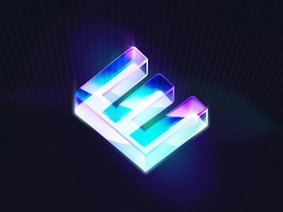 """""""Stay Glass E"""" Figma Exploration 3d art typography unfoldagency unfold illustration color light 3d figma"""