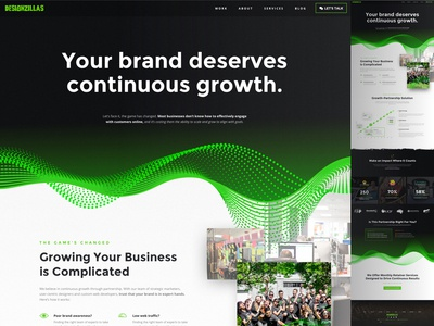 Designzillas Brand New Solutions Page data design agency web design growth