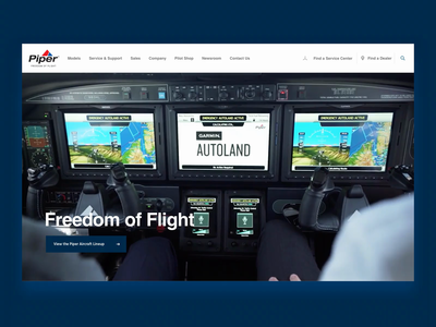 Piper Aircraft Website Reveal airplane piper aviation animation website web design