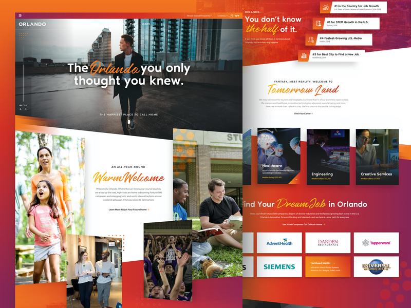Orlando Economic Partnership | Live, Work, Play recruitment news homepage business ui design typography orlando design designzillas website orlando web design