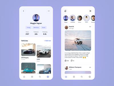 Automotive Social App car mobile app white figma clean