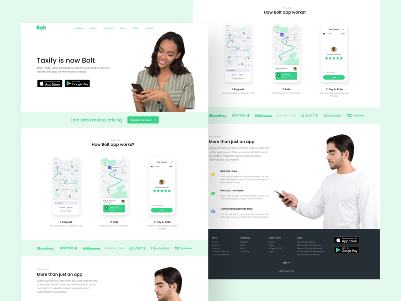 Bolt redesign concept clean webdesign pastel colors green white drivers drive web ui design figma