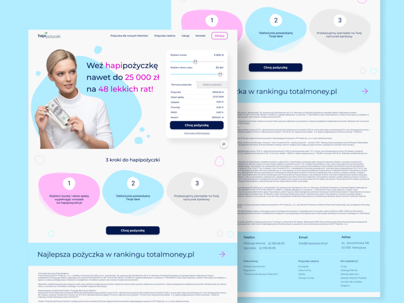 Redesign concept - Hapipożyczki loan cash uidesign pastels shapes pastel colors redesign concept webdesign clean figma ui design
