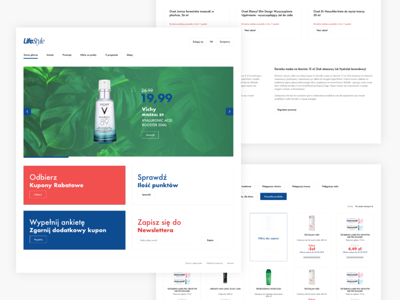 ecommerce - landing page redesign health beauty futura whitespace layout landing page coupons loyalty program ecommerce minimal clean landingpage webdesign web
