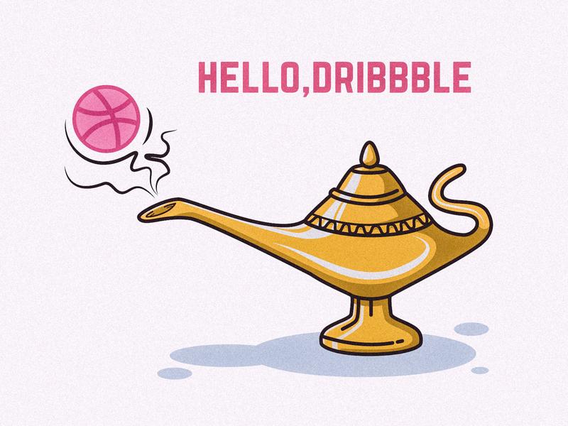 Hello, Dribbble ! hello first aladin dribbble illustration