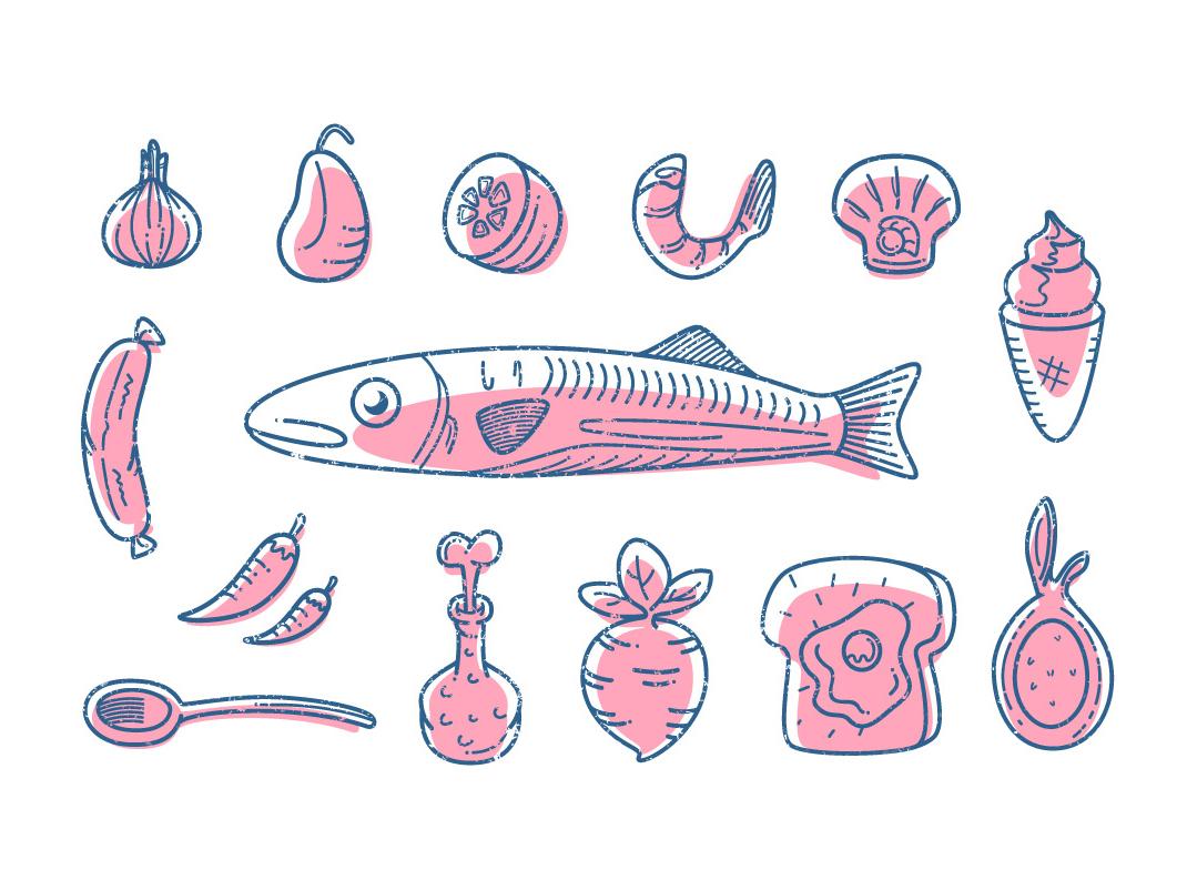 Food Creation toast shrimp sausage radish line illustration ice cream garlic food fish chili