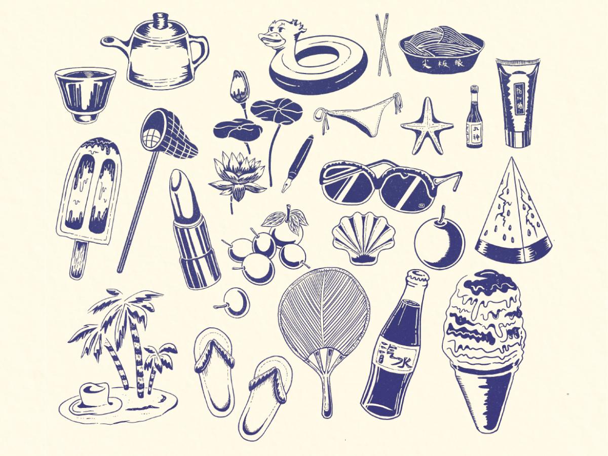 Summer tea old style sunglasses watermelon shell grape beach slippers soda ice cream illustration
