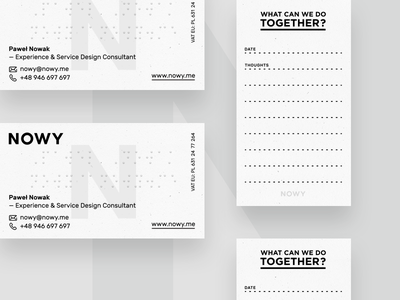 Nowy business cards alphabet braille id identity notes thoughts designer ux nowy cards business