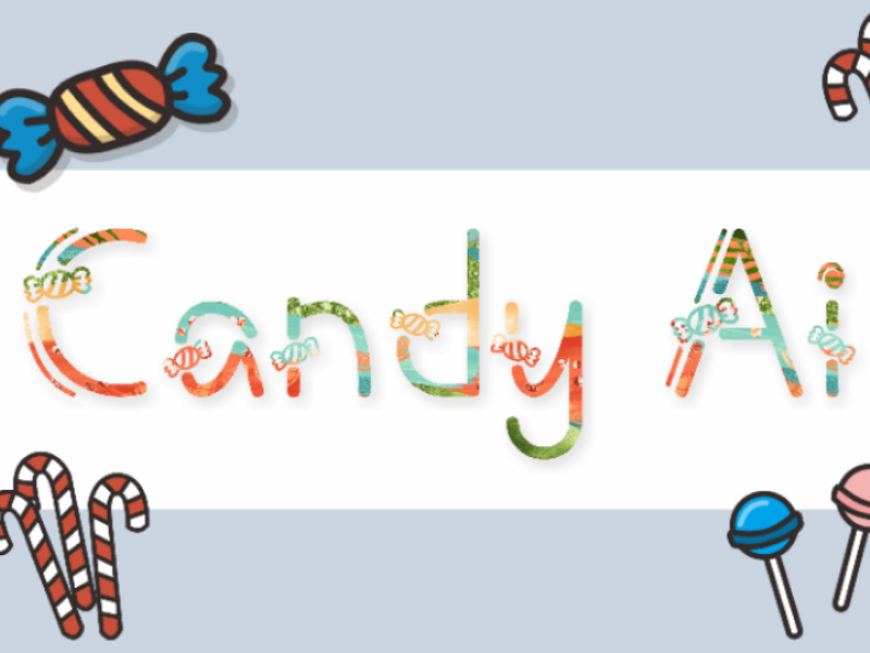 Candy Ai branding design display kids child kid cute trick-or-treating halloween decor decorative typeface font sweet candy