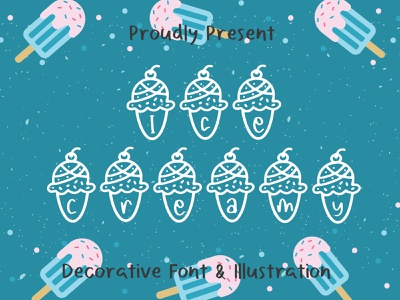 Ice Creamy Font illustration design child kid crafts food drink ice cream dingbat display typeface creative font branding logo cute