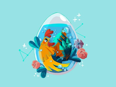 Chinese Zodiac flower water egg chicken rooster photoshop art drawing draw character design characterdesign photoshop characters digital painting illustration digital art