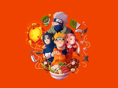 Team 7 food illustration anime ramen food naruto fanart photoshop art draw drawing character design characterdesign photoshop characters digital painting illustration digital art