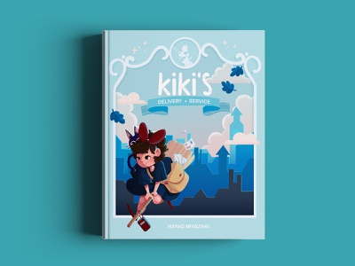 Kiki's Delivey Service - Book Cover editorial illustration book kikis delivery service studio ghibli fanart childrens illustration childrens book book cover drawing draw character design photoshop digital painting illustration digital art
