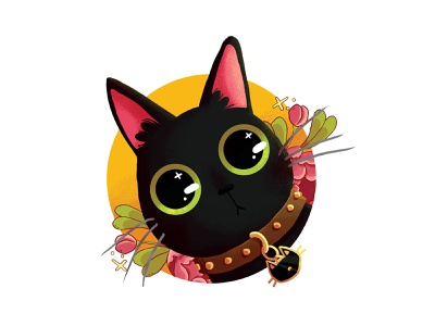 Black cat with flowers draw sticker flowers black cat cat photoshop drawing digital painting illustration digital art