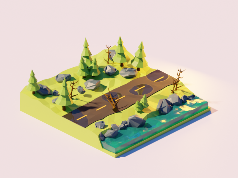 The Road 2 isometric illustration forest isometric art isometry nature render low poly lowpoly isometric blender 3d