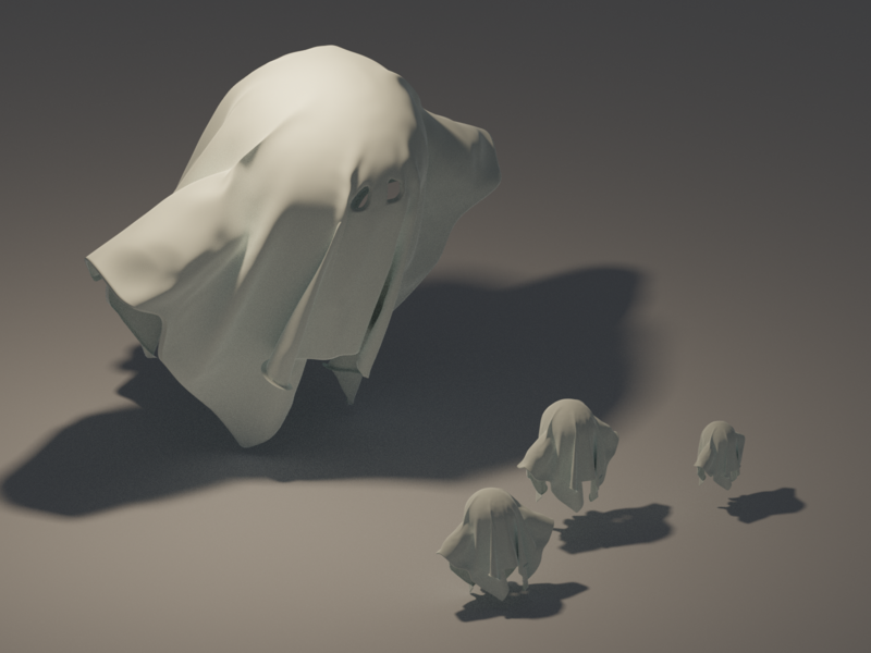 Ghosts Meeting spooky ghosts ghost characters character game isometric render low poly lowpoly blender 3d