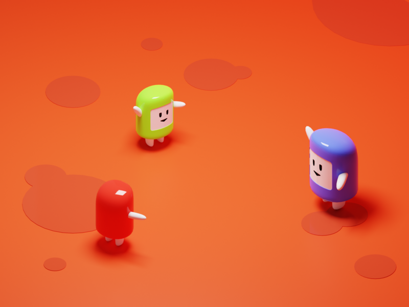 Skittles Toys low poly lowpoly glossy toys game character characters isometric render blender 3d