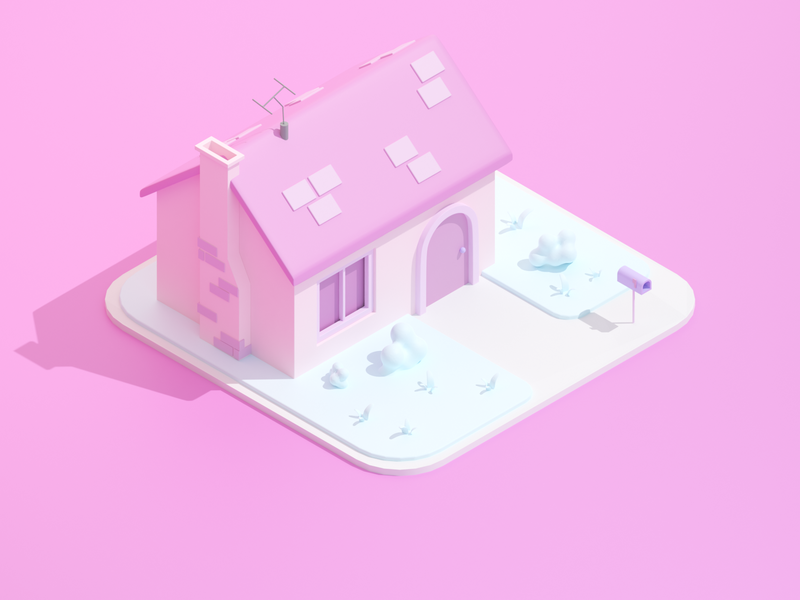 Cartoon House cartoon building house game low poly isometric render lowpoly blender 3d
