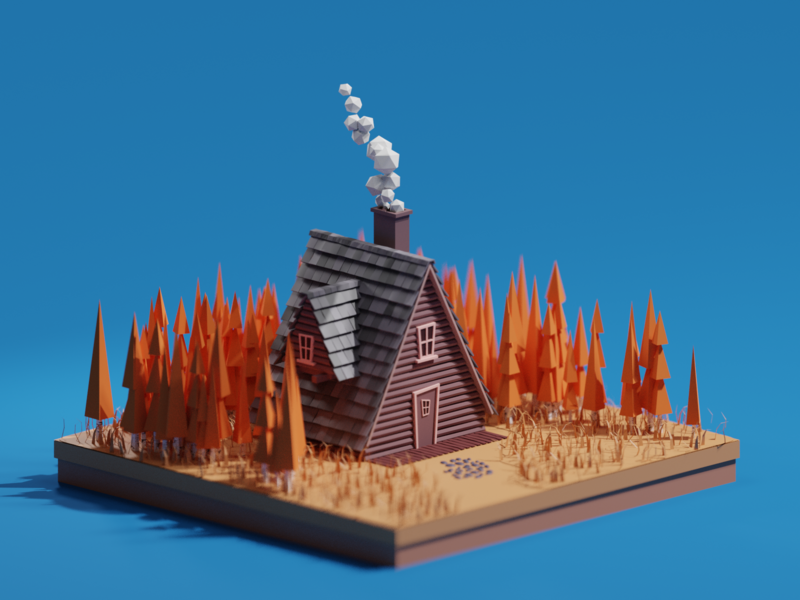 Lowpoly Autumn Cabin illustration forest low poly house illustrator isometric cabin blender b3d autumn 3d