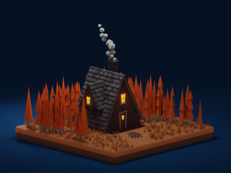 Lowpoly autumn cabin at night lowpoly render low isometric illustrator house forest cabin blender b3d autumn 3d