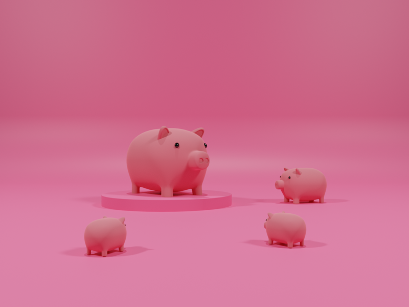 Piggies animals illustration piggy render lowpoly blender 3d