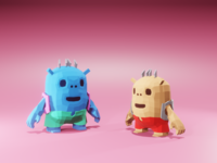 Little Monsters monsters monster renders illustration characters game character low poly render lowpoly blender 3d